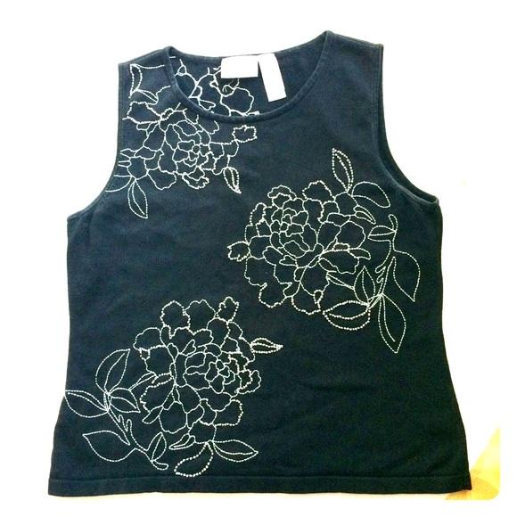 Liz Claiborne Tops - Liz Claiborne Black With White Embroidery Top Sz L